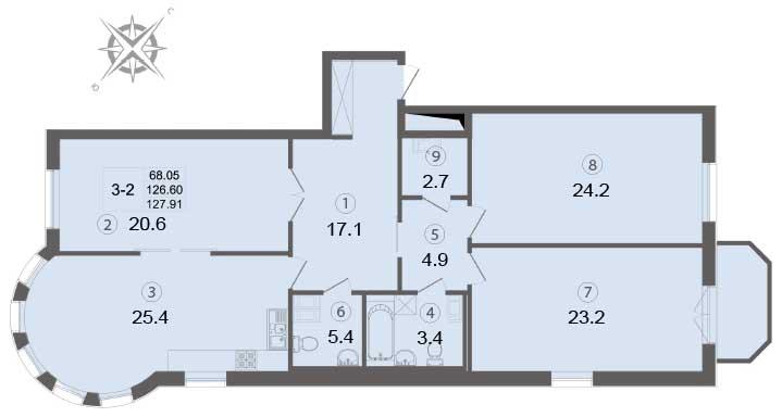 Планировка Трёхкомнатная квартира площадью 128.3 кв.м в ЖК «Щедрин»