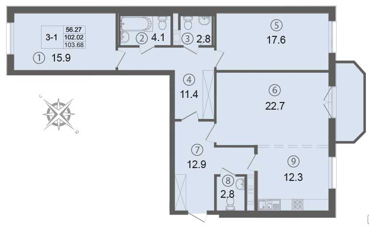 Планировка Трёхкомнатная квартира площадью 104.2 кв.м в ЖК «Щедрин»